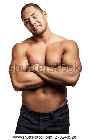Attractive shirtless macho man showing his muscular body. Isolated on white background