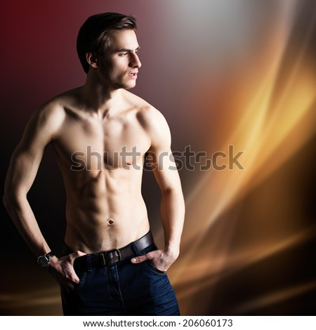 attractive shirtless muscular man