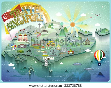 attractive Singapore travel map with colorful attractions icon