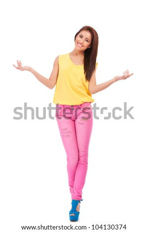 attractive smile teenage girl raised up arms hands at you as a welcome, isolated over white background