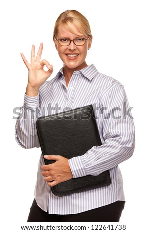 Attractive Smiling Blond Woman with Okay Hand Sign Isolated on a White Background. - stock photo