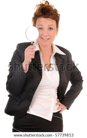 Attractive smiling business woman with magnifying glass on white background