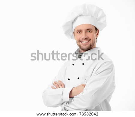 Attractive smiling chef on a white background - stock photo
