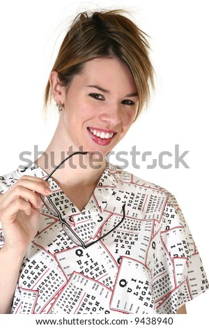 Attractive smiling female eyedoctor dressed in white scrubs with black lettering. Ophthalmology Ophthalmologist - stock photo