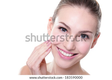 attractive smiling woman face with health teeth close up, dental care concept - stock photo