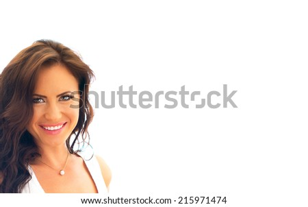 Attractive smiling woman. Isolated on white. Place for your text. - stock photo