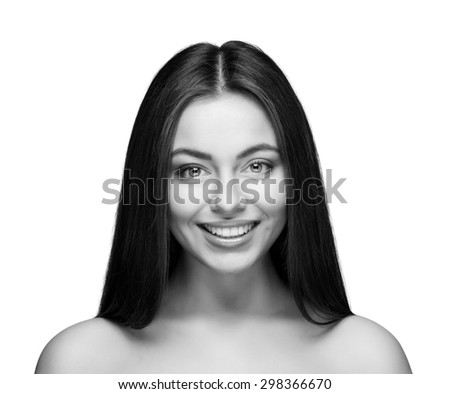 attractive smiling woman portrait on white background isolated - stock photo