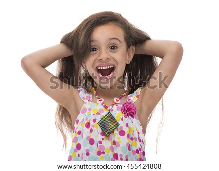 Attractive Smiling Young Girl With Beautiful Hair Isolated on White Background - stock photo