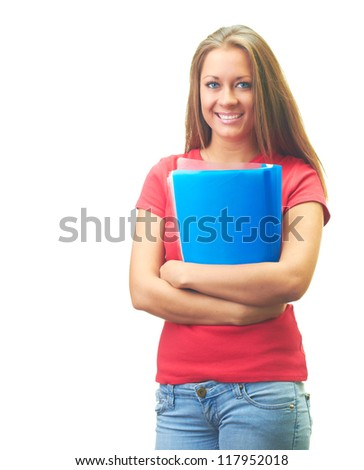 Attractive smiling young woman in a red shirt holding a blue folder. Isolated on white background