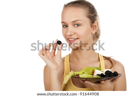 attractive smiling young woman with plate of salad, portrait of a smiled girl with salad, caucasian girl with plate of salad,isolated on white, girl with salad