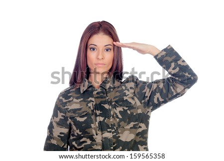 Attractive soldier giving a military salute isolated on a white background - stock photo