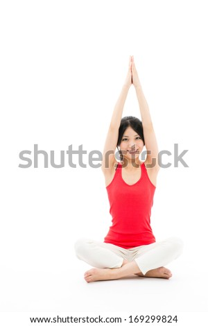 attractive sporty asian woman exercising isolated on white background - stock photo