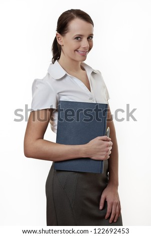 attractive standing office woman looking at camera
