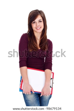 Attractive student girl with notebooks