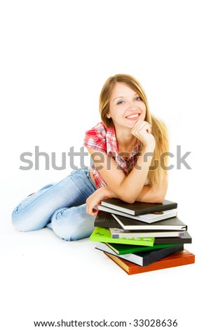 attractive student girl with pile of books over white
