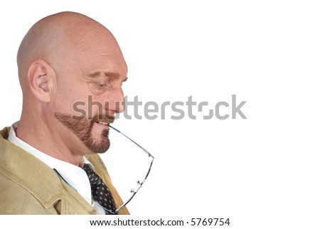 Attractive successful  bearded  middle aged businessman, pensive look, Business, corporate, concept. - stock photo