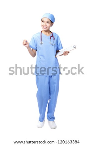 attractive surgeon woman doctor or nurse smile holding clipboard in full length isolated on white background, model is a asian beauty