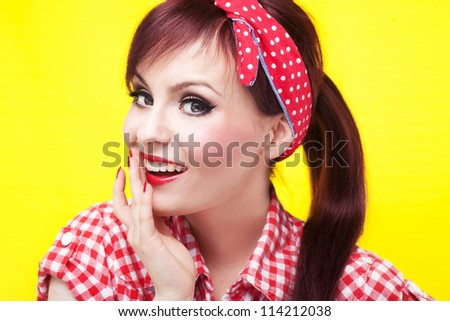 Attractive surprised pin up girl - retro style portrait - stock photo