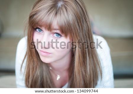 Attractive teen girl gives attitude - stock photo