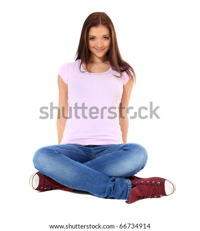 Attractive teenage girl. All on white background. - stock photo