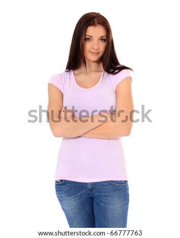 Attractive teenage girl. All on white background.