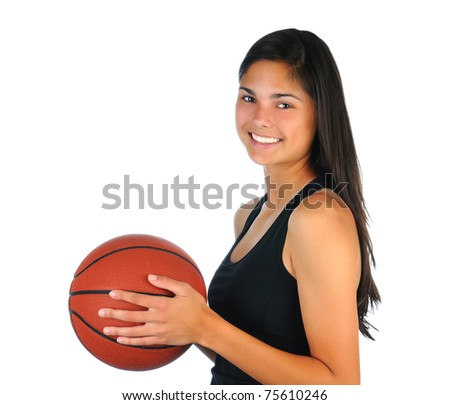Attractive teenage girl holding a basketball in front of her body. Profile shot, square format isolated over white.