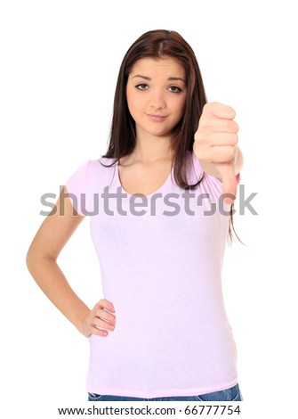 Attractive teenage girl making negative gesture. All on white background. - stock photo