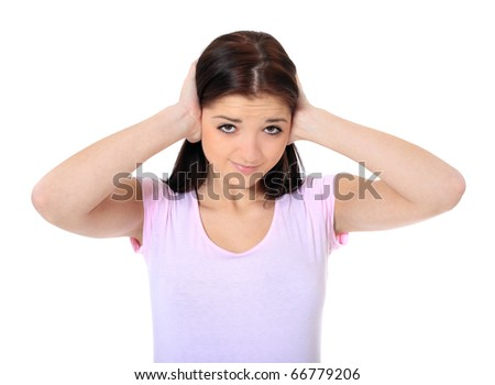 Attractive teenage girl suffering from tinnitus. All on white background. - stock photo