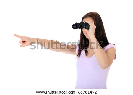 Attractive teenage girl using spyglass pointing with finger. All on white background. - stock photo