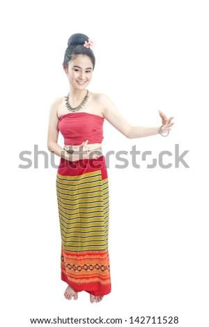 Attractive Thailand dancer in colorful traditional dress, ethnic. - stock photo