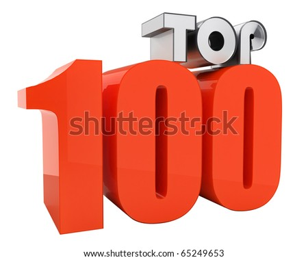 attractive TOP100 3d-text - stock photo