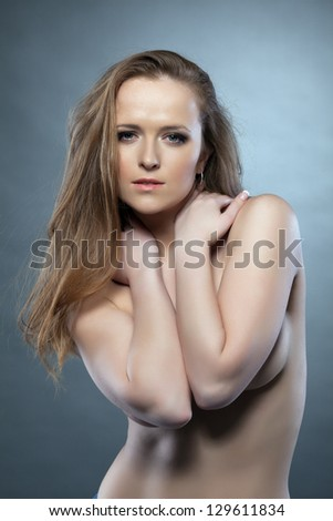 Attractive topless girl close-up - stock photo