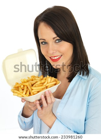 Attractive Twenty Something Young Woman Eating Chips - stock photo