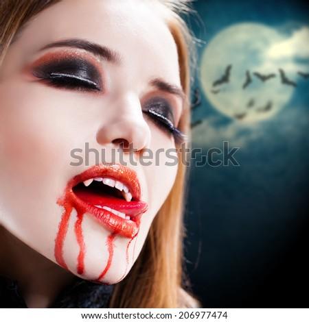 attractive vampire lady - stock photo
