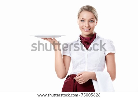 Attractive waitress holding an empty plate on a white background