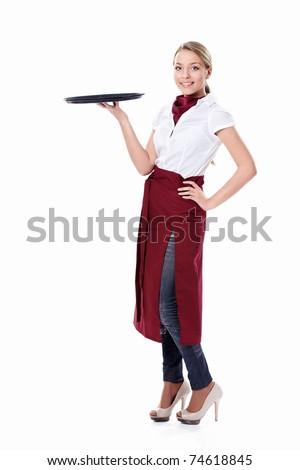 Attractive waitress with a tray on a white background