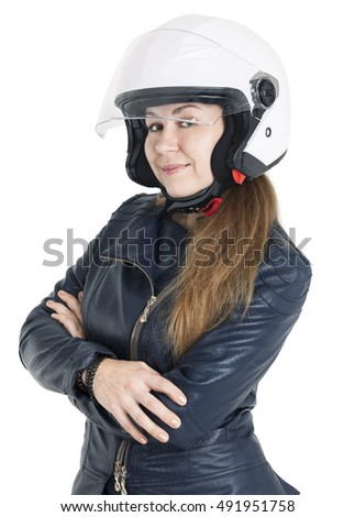Attractive woman a motorcyclist with white urban helmet with opened shield system, isolated on white background
