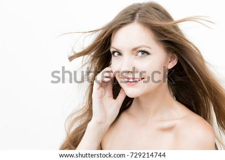 attractive woman beauty image on white background