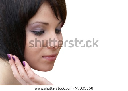 Attractive woman face with hand at cheek isolated on white. Closeup portrait - stock photo