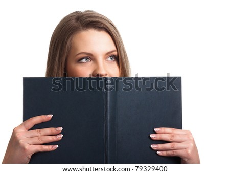 Attractive woman holding book isolated