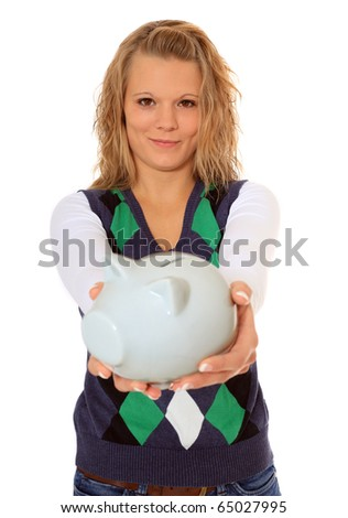 Attractive woman holding piggy bank. All on white background