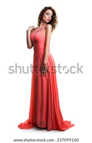 attractive woman in a long dress - stock photo