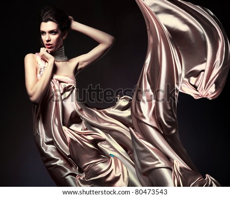 attractive woman in beautiful fabric - stock photo