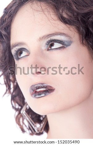 Attractive woman in black dress, goth , studio shot - stock photo