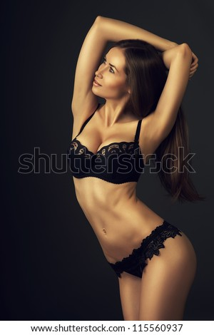 attractive woman in dark lingerie