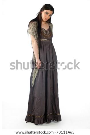 attractive woman in elegant dress - stock photo