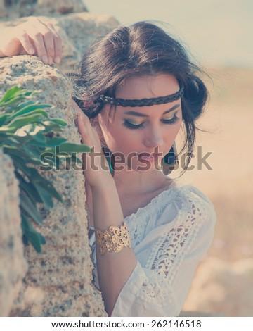 Attractive woman in greek style portrait  - stock photo