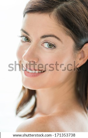 attractive woman in her forties - stock photo