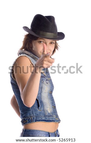 attractive woman in jeans, denim jacket and hat, isolated on white background