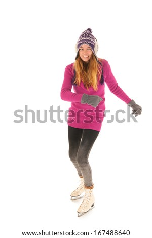 Attractive woman in pink skating on ice isolated over white background - stock photo